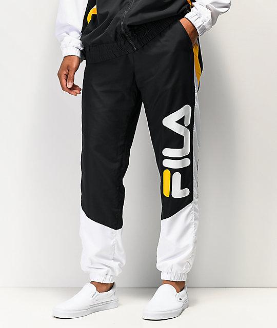 Fila Gustavo Black, White &Amp; Gold Track Pants by Fila