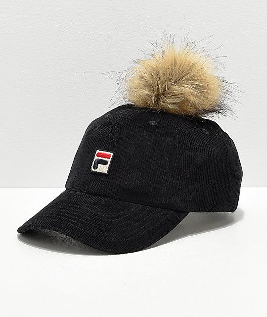 FILA Heritage Black Corduroy Pom Hat  32c0400b29cb