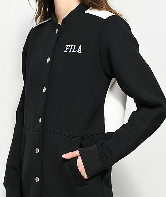 FILA Joni Black Bonded Jersey Long Stadium Jacket