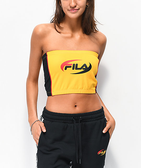 0190c7a9a247d FILA Josefa Gold   Black Tube Top