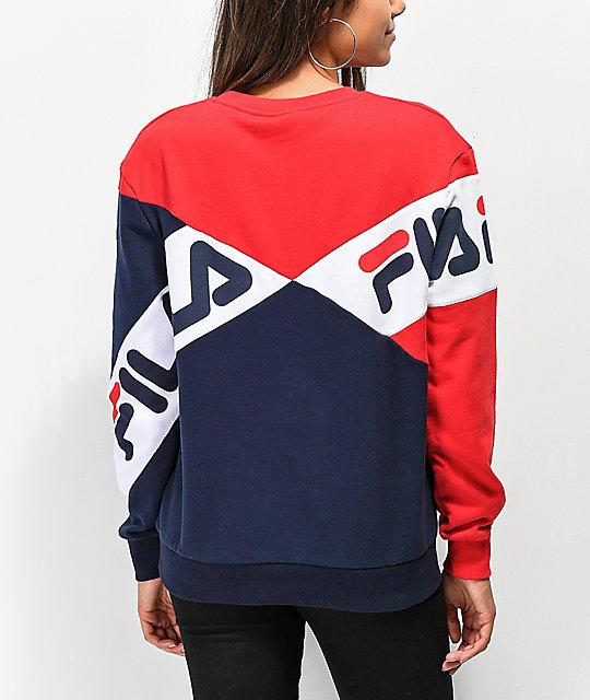 f1ee573483ed FILA Lidia Blue, Red & White Crew Neck Sweatshirt   Zumiez