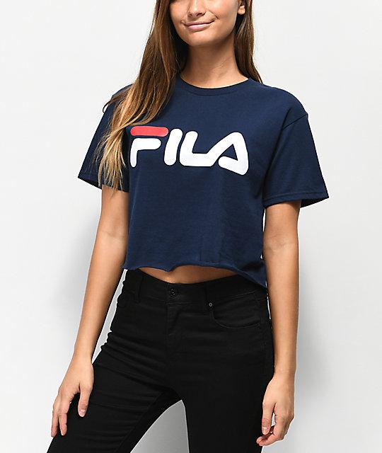 332f9a942ad FILA Logo Navy Crop T-Shirt | Zumiez