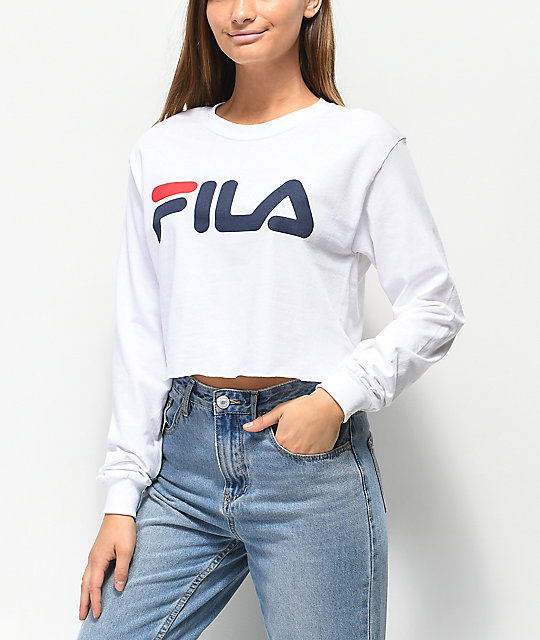 FILA Logo White Long Sleeve Crop T-Shirt