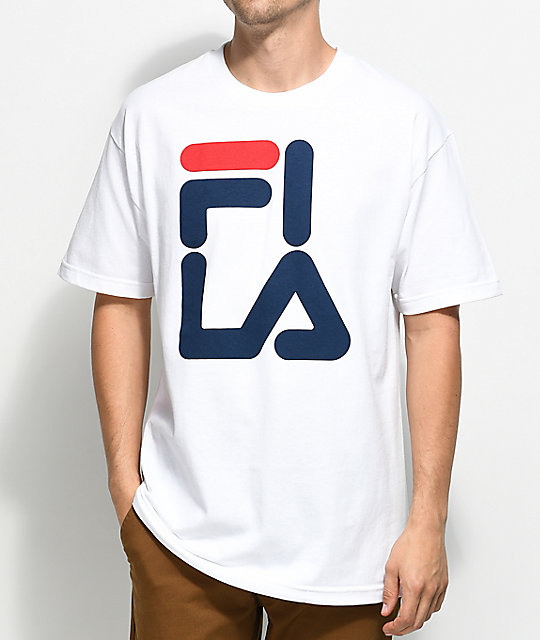 fila logo white t shirt zumiez. Black Bedroom Furniture Sets. Home Design Ideas