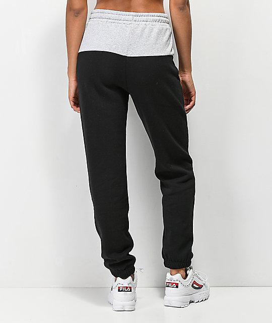 618555465a FILA Mara Black & Grey Jogger Sweatpants   Zumiez