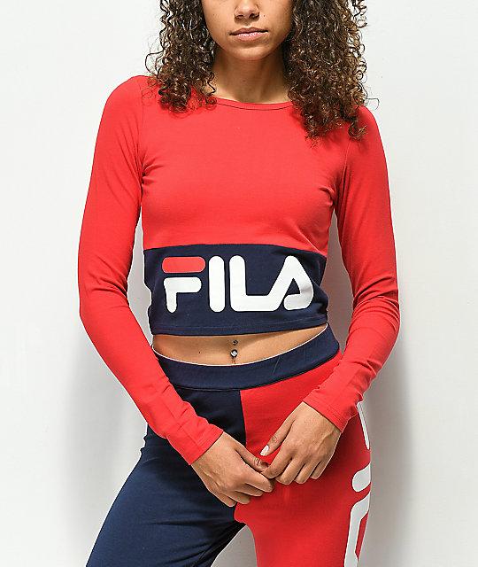 5c10b95c875 FILA Maria Red & Blue Long Sleeve Crop Shirt | Zumiez