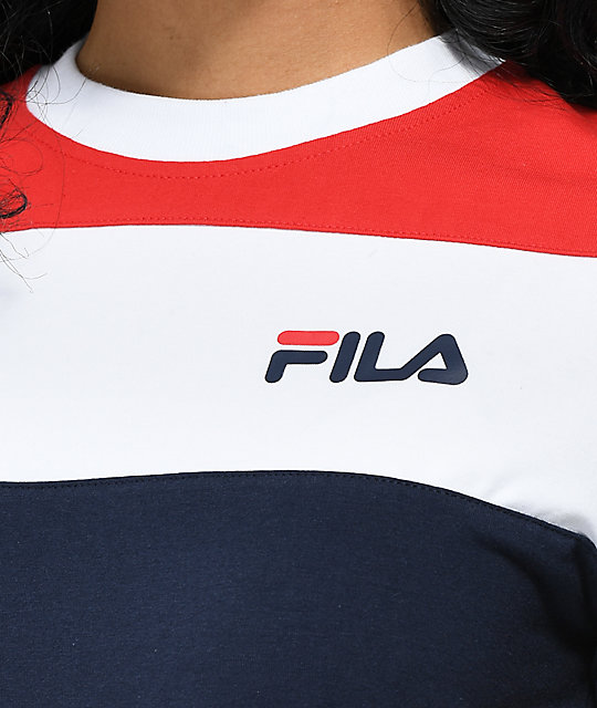 707331f08182 FILA Maya Red, White & Blue Color Block Crop T-Shirt | Zumiez