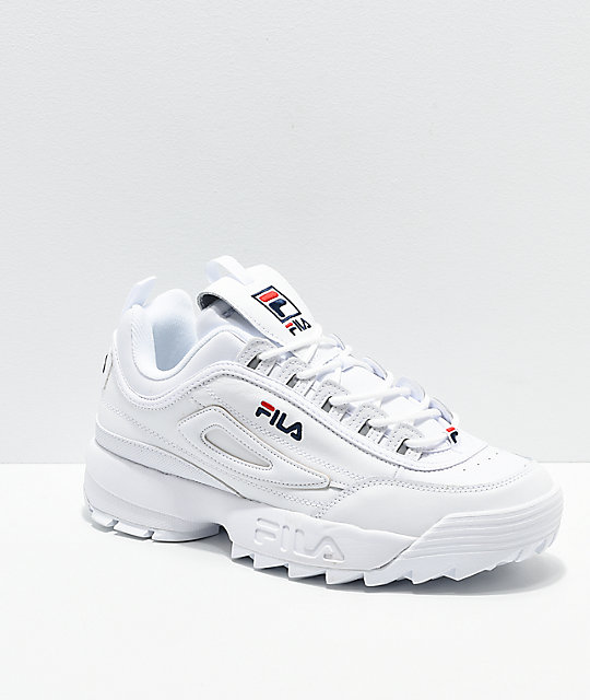 super cheap compares to distinctive style on sale FILA Men's Disruptor II Premium White, Navy & Red Shoes