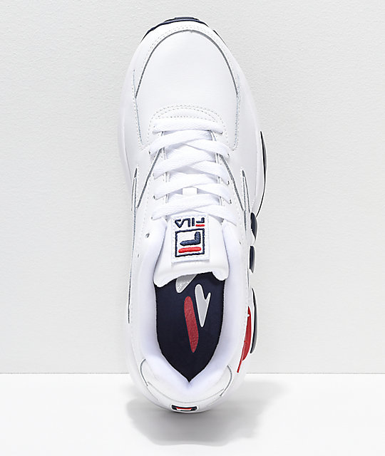 FILA Mindblower White, Navy & Red Leather Shoes