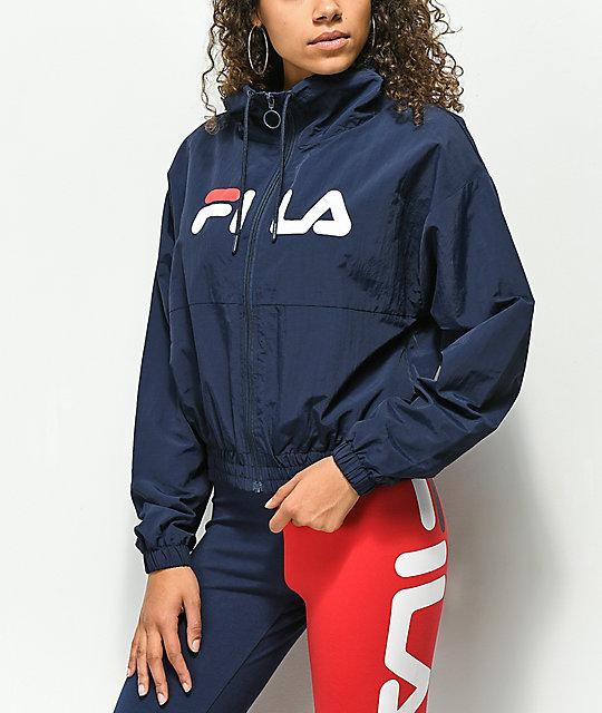 venta minorista nuevo diseño aliexpress FILA Natalie chaqueta cortavientos con cuello alto azul marino