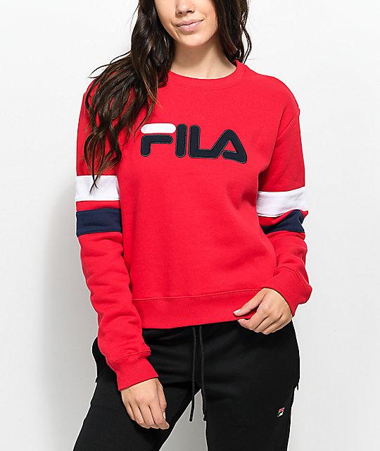 eec37e3f1ea2 FILA Newton Red Crew Neck Sweatshirt | Zumiez