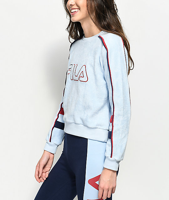 0264234564e3 FILA Nikita Light Blue Terry Crew Neck Sweatshirt | Zumiez