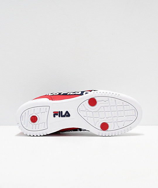 FILA Original Fitness Logo Taped White & Red Shoes