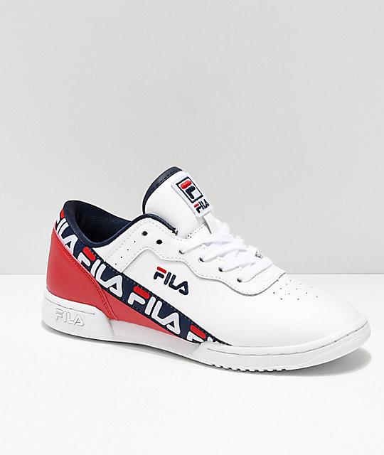 e0b92d136b FILA Original Fitness Logo Taped White & Red Shoes