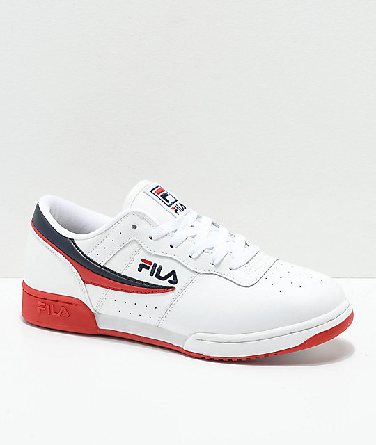FILA Original Fitness White, Navy & Red Shoes