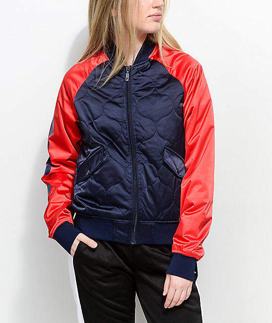 Fila Petra Navy Red Quilted Bomber Jacket Zumiez