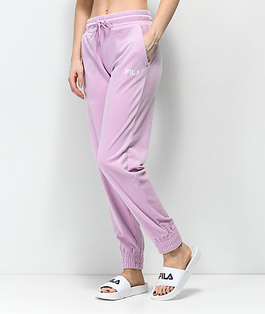52b7ea2a8c178 FILA Pink Velour Jogger Sweatpants | Zumiez