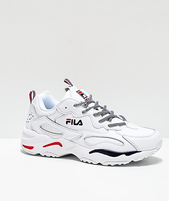 FILA Ray Tracer White, Blue & Red Shoes