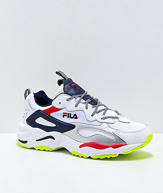 FILA Ray Tracer zapatos en blanco, azul marino y amarillo para hombres