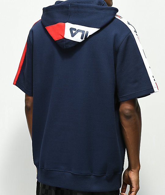 FILA Reggie Navy, Red & White Short Sleeve Hoodie