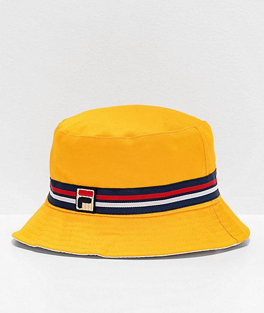 100% wysokiej jakości najwyższa jakość super jakość FILA Reversible Yellow Bucket Hat