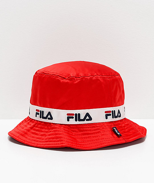 2cc43d2300a7a FILA Satin Jacquard Red Bucket Hat