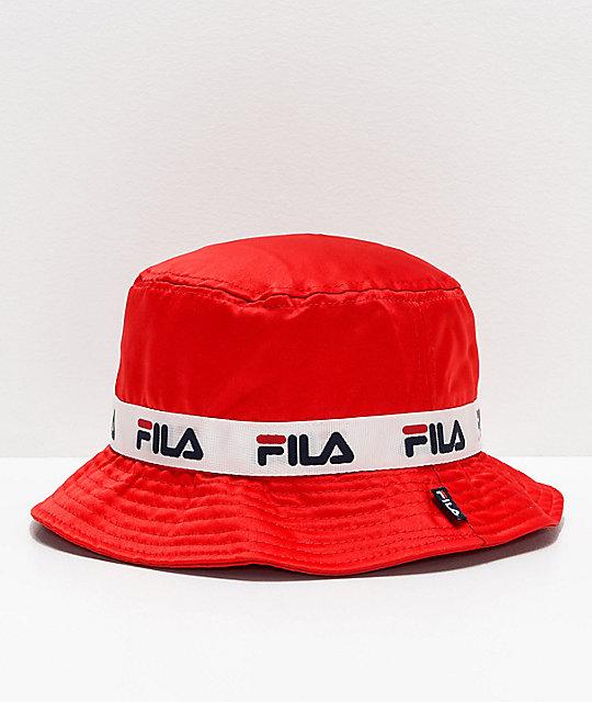 sprzedawane na całym świecie wyprzedaż resztek magazynowych sklep internetowy FILA Satin Jacquard Red Bucket Hat