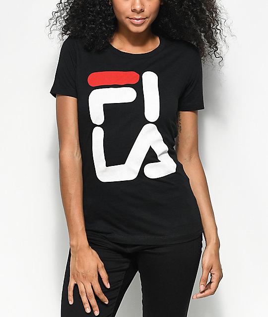 ddd0a7debc21 FILA Square Logo Black T-Shirt   Zumiez