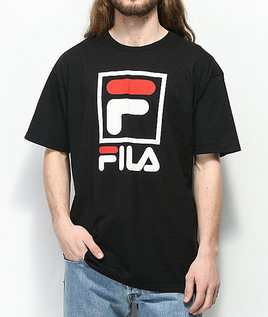 variété de dessins et de couleurs vente à bas prix braderie FILA Stacked Black T-Shirt