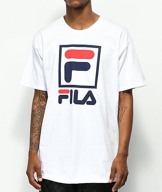 achat spécial sélection mondiale de rechercher le dernier FILA Stacked White T-Shirt