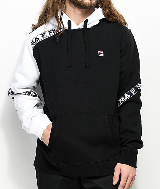 034f45d64bbf6 FILA Tag Fleece Black & White Hoodie | Zumiez