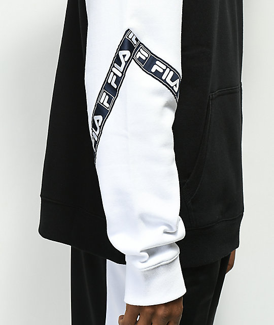 FILA Tag Fleece Black & White Hoodie