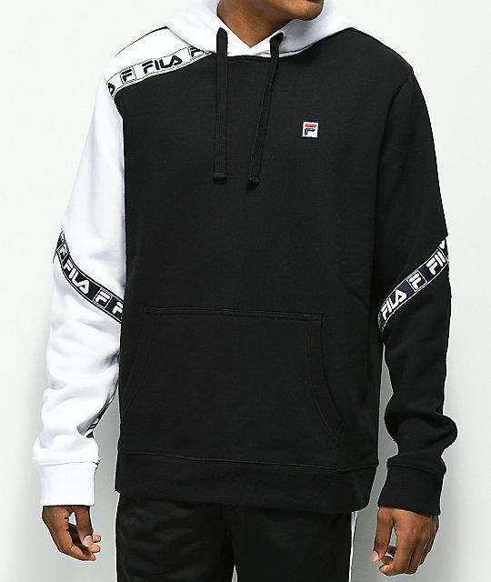 diseño de calidad 74b23 31d1f FILA Tag sudadera con capucha de polar en blanco y negro