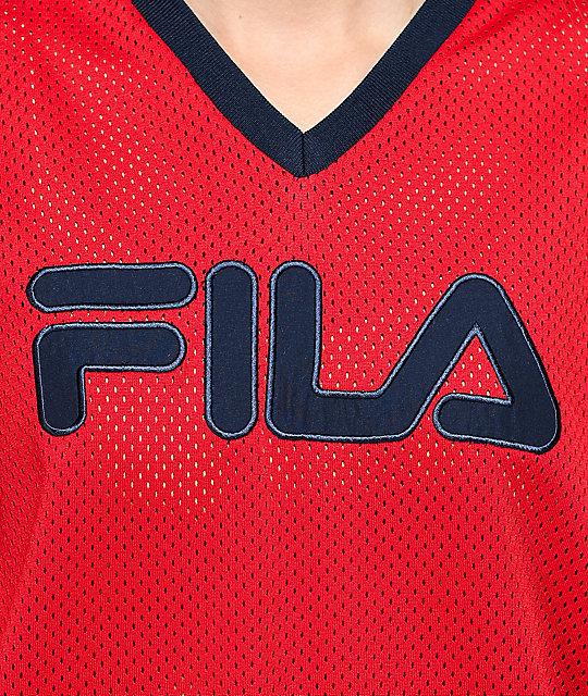 e63ee967c9e FILA Tanya Red Mesh Long Sleeve Hockey Jersey | Zumiez