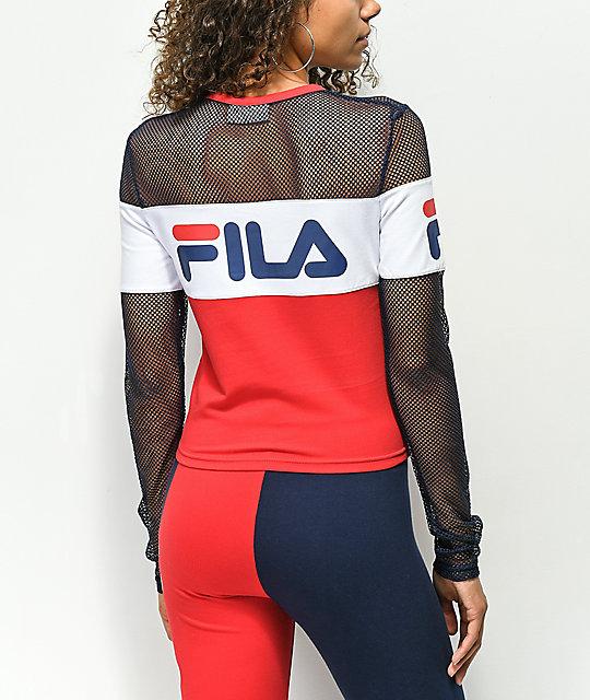 ... FILA Tara Red Long Sleeve Crop Shirt 66024006e