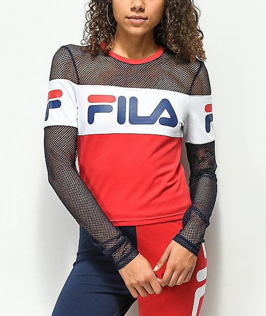 FILA Tara Red Long Sleeve Crop Shirt  71fa1da87