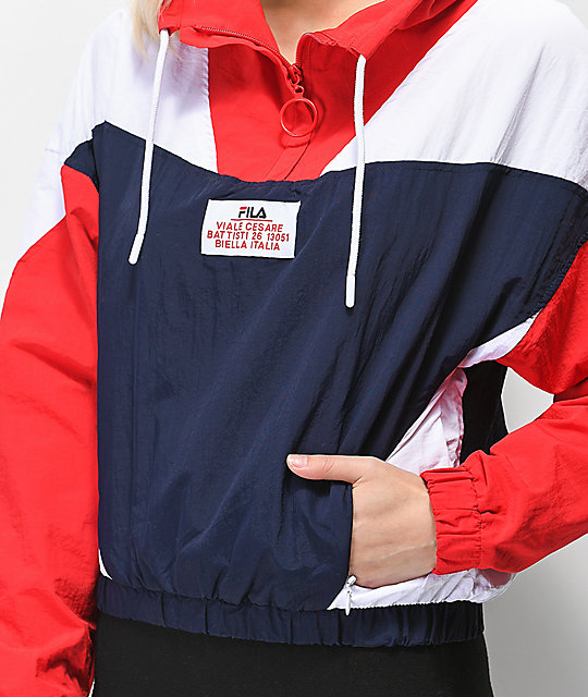 FILA Tessa Blue & Red Funnel Neck Windbreaker Jacket
