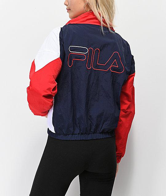 FILA Tessa Blue & Red Funnel Neck Windbreaker Jacket