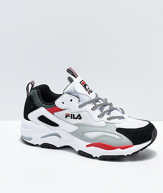 FILA Womens' Ray Tracer White, Grey & Red Shoes