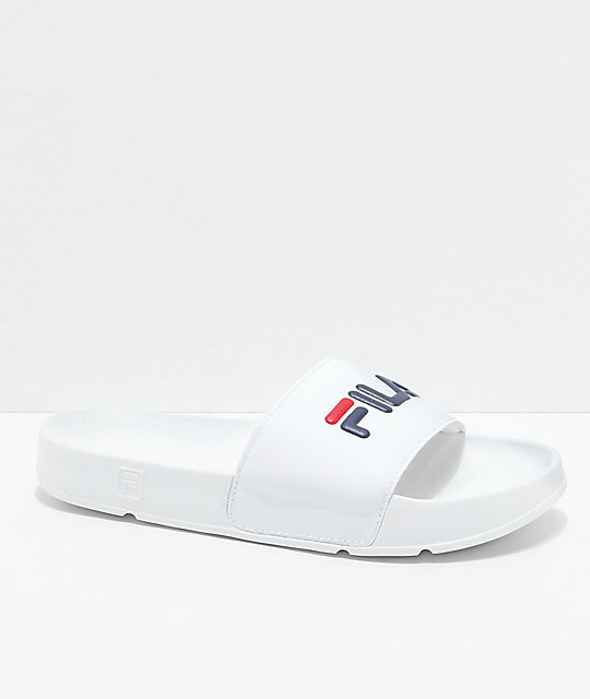 FILA Womens Drifter White, Red & Navy Slide Sandals