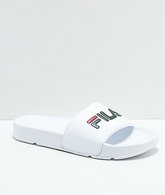 FILA Womens Drifter White, Sycamore & Biking Red Slide Sandals