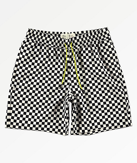 Fairplay Boardy Neon Checkered Black &Amp; White Elastic Waist Board Shorts by Fairplay