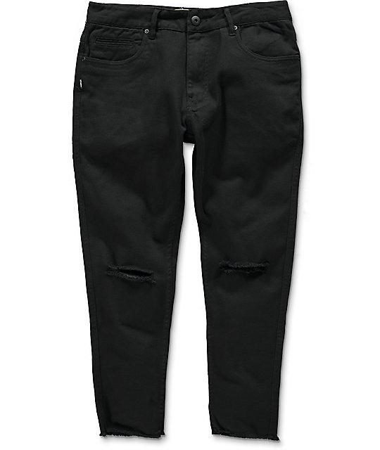 Fairplay Stellan Black Distressed Cropped Jeans