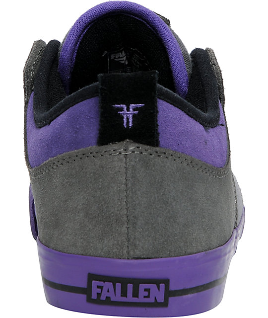 Fallen Clipper Grey & Purple Suede Skate Shoes