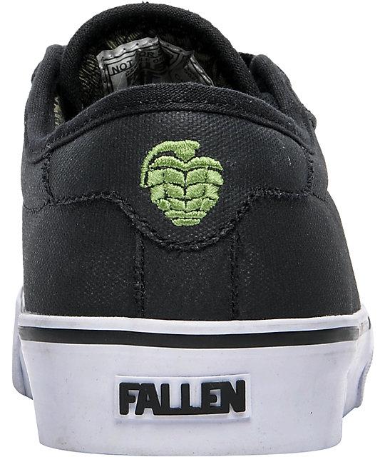 ba6e7cfdb4 ... Fallen Forte Thunder Black Waxed Skate Shoes ...