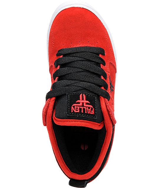fallen shoes clipper red black kids skate shoes zumiez