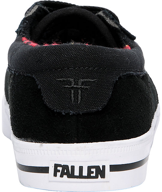 Fallen Shoes Coronado Black & Red Flannel Skate Shoes