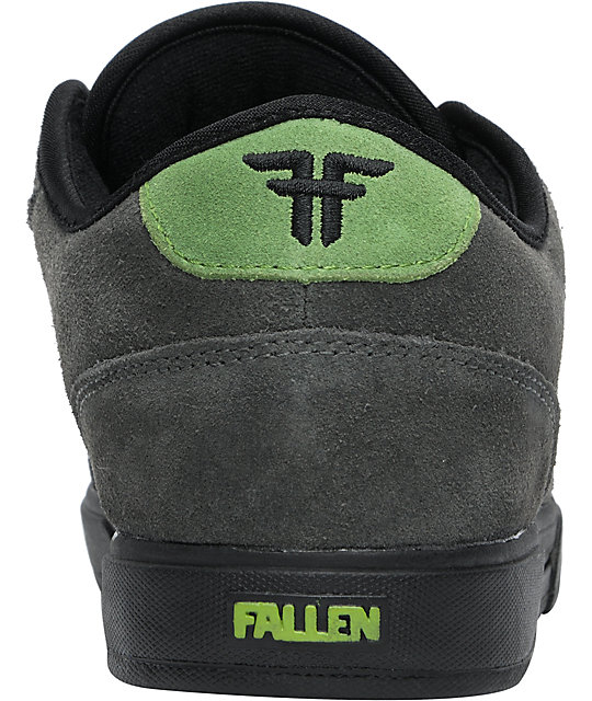 Fallen Shoes Patriot II Charcoal & Green Suede Skate Shoes