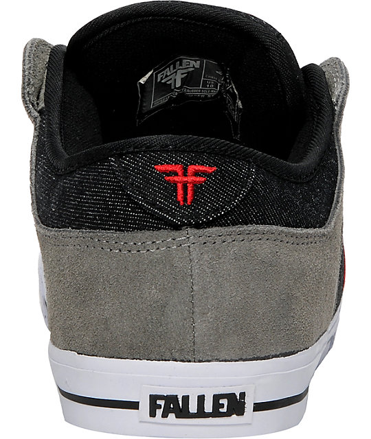 Fallen Shoes Ripper Grey, Black & Red Skate Shoes