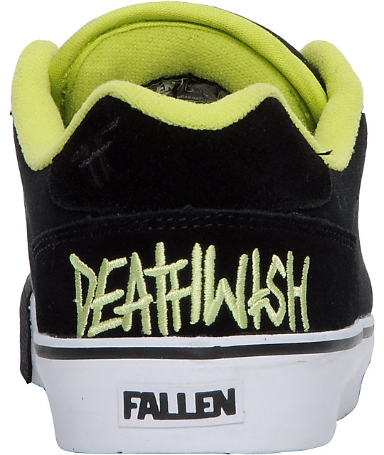 Fallen Shoes x Deathwish Slash Black & Lime Skate Shoes